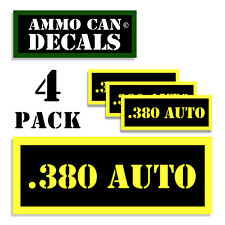 .380 AUTO Ammo Can Label 4x Ammunition Case stickers decals 4 pack YW MINI 1.5in
