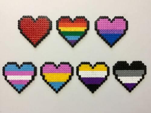 Hama cuentas LGBT orgullo Corazones de píxeles 7.5cm X 7cm