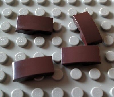 New LEGO Lot of 4 Dark Brown 2x1 Double Curved Slope Pieces