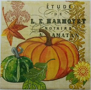 Pumpkin Script Autumn 2 Single Lunch Size Paper Napkins