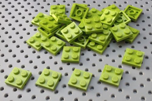 Lego Lime Green 2x2 Plate 3022 x25 in a set *BRAND NEW* Space City Minecraft