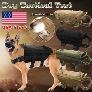 Tactical-Police-K9-Military-Dog-Vest-Harness-Service-Canine-Nylon-Service-MOLLE