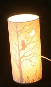 Owl Scene Fabric Table or Bedside Lamp Gift