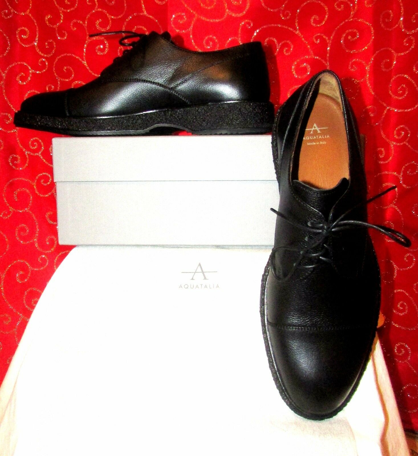NEW AQUATALIA PIERCE BLK ITALIAN HAND CRAFTED WEATHERPROOF LEATHER OXFORDS SZ 12