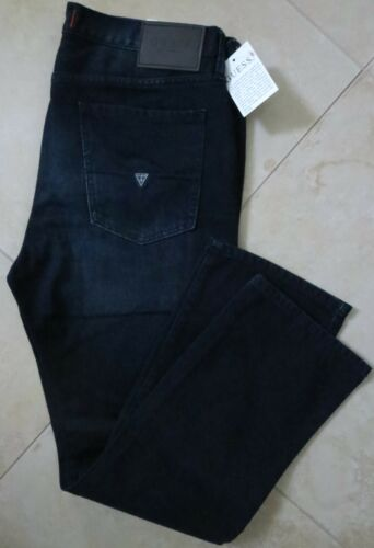 Guess Straight Leg Jeans Men/'s Size 36 X 34 Vintage Distressed Dark Wash