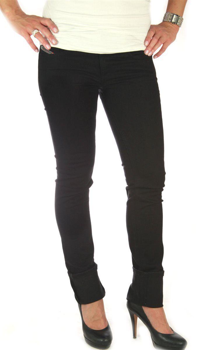 DIESEL Livy 008Z1 Damen Jeans Hose Raw Denim schwarz 26 30 Röhre slim Matic