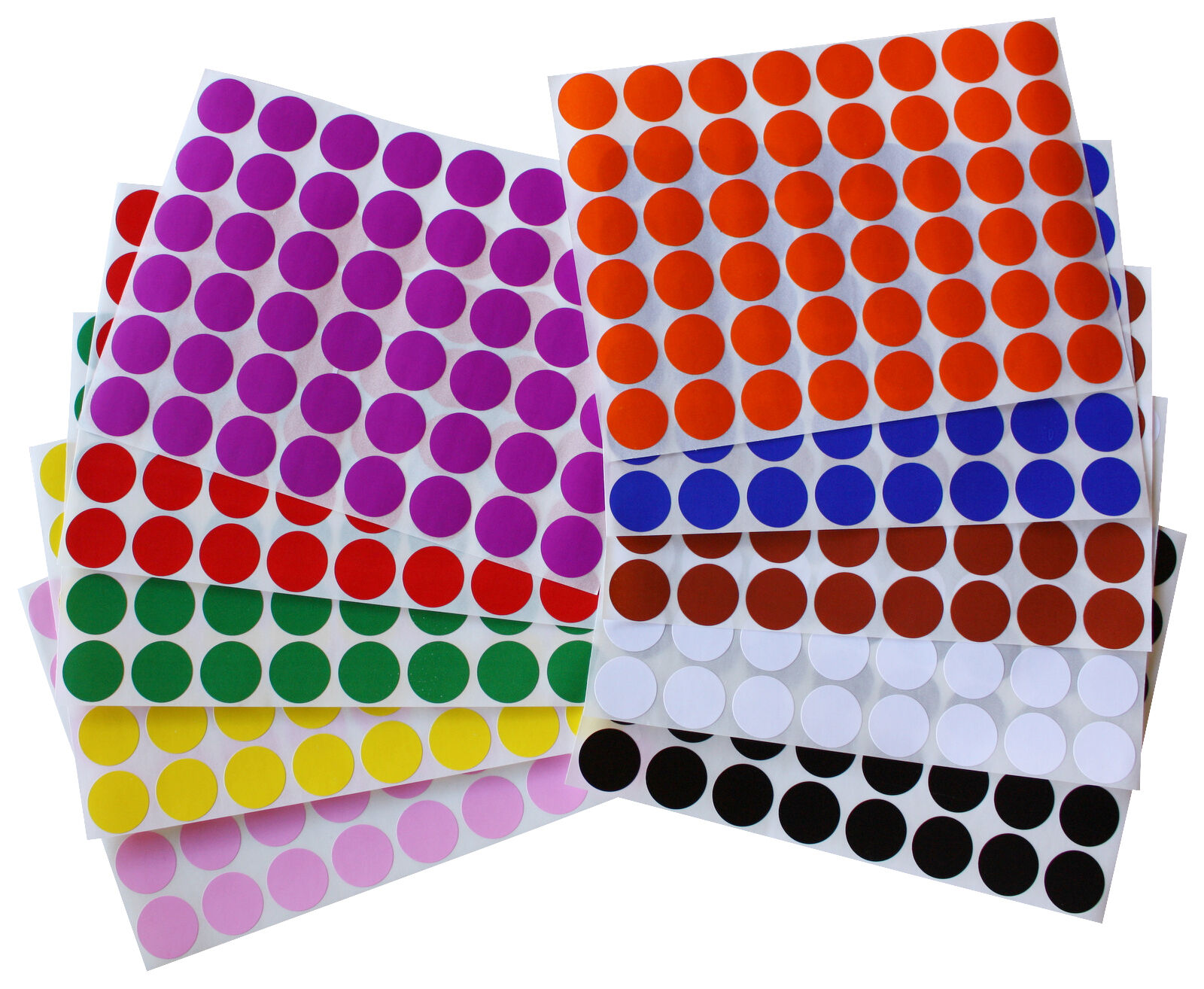 Details About 3 4 Inch Diameter 17mm Color Round Dot Stickers On Sheet Circle Labels 336 Pack