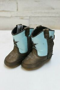 Old-West-Infant-Poppets-Cowboy-Boots-Brown-amp-Blue-w-Star-Style-10043