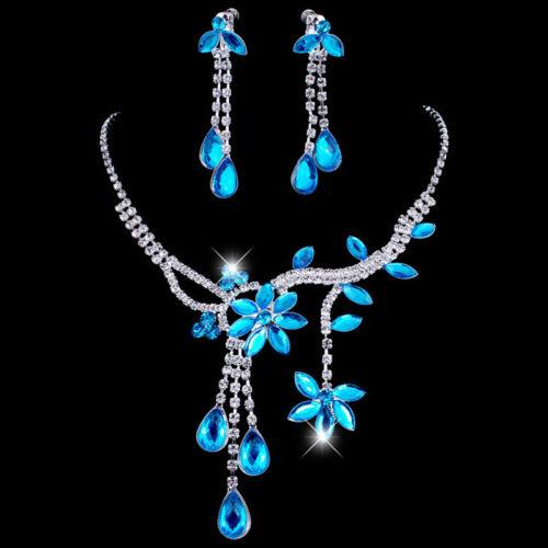 Fashion Robe de Mariage Fleur Feuille Cristal Collier Boucles d/'Oreilles Pendantes Bijoux Ensemble Pour