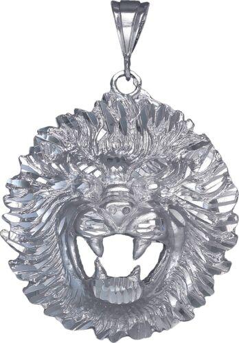 Sterling Silver Lion Pendant Necklace Diamond Cut Finish 2.9 Inhces 24.2 Grmas