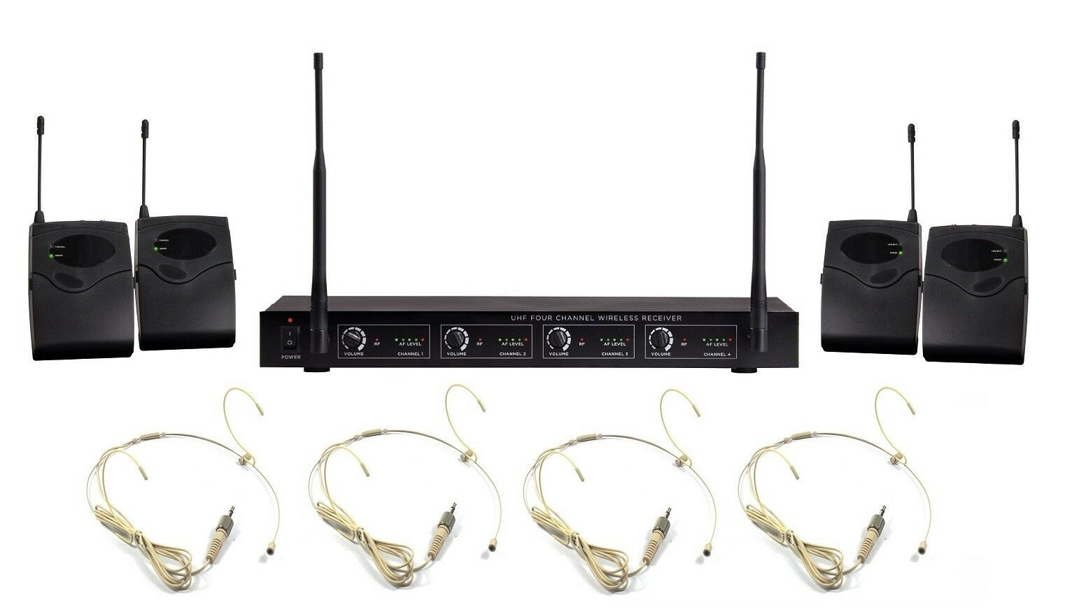 Professional Vocal Microphone 4 Channels Wireless Nude Headset Microphone System