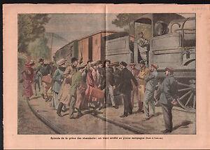 Greve-des-cheminots-chemins-de-fer-du-Nord-Railway-Train-CGT-1910-ILLUSTRATION