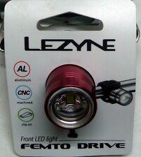 LEZYNE FEMTO FRONT LED LIGHT RED ALLOY HANDLEBAR / BAR END MOUNTING