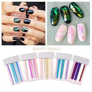 5Pc-Foil-Wrap-GLASS-NAIL-Effect-Art-DIY-Decal-Transfer-Glitter-Shattered-Sticker