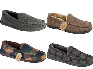 6e6cb8d7a34975 Mens Hampshire Faux Suede Fur Lined Moccasin Classic Slippers Shoes ...