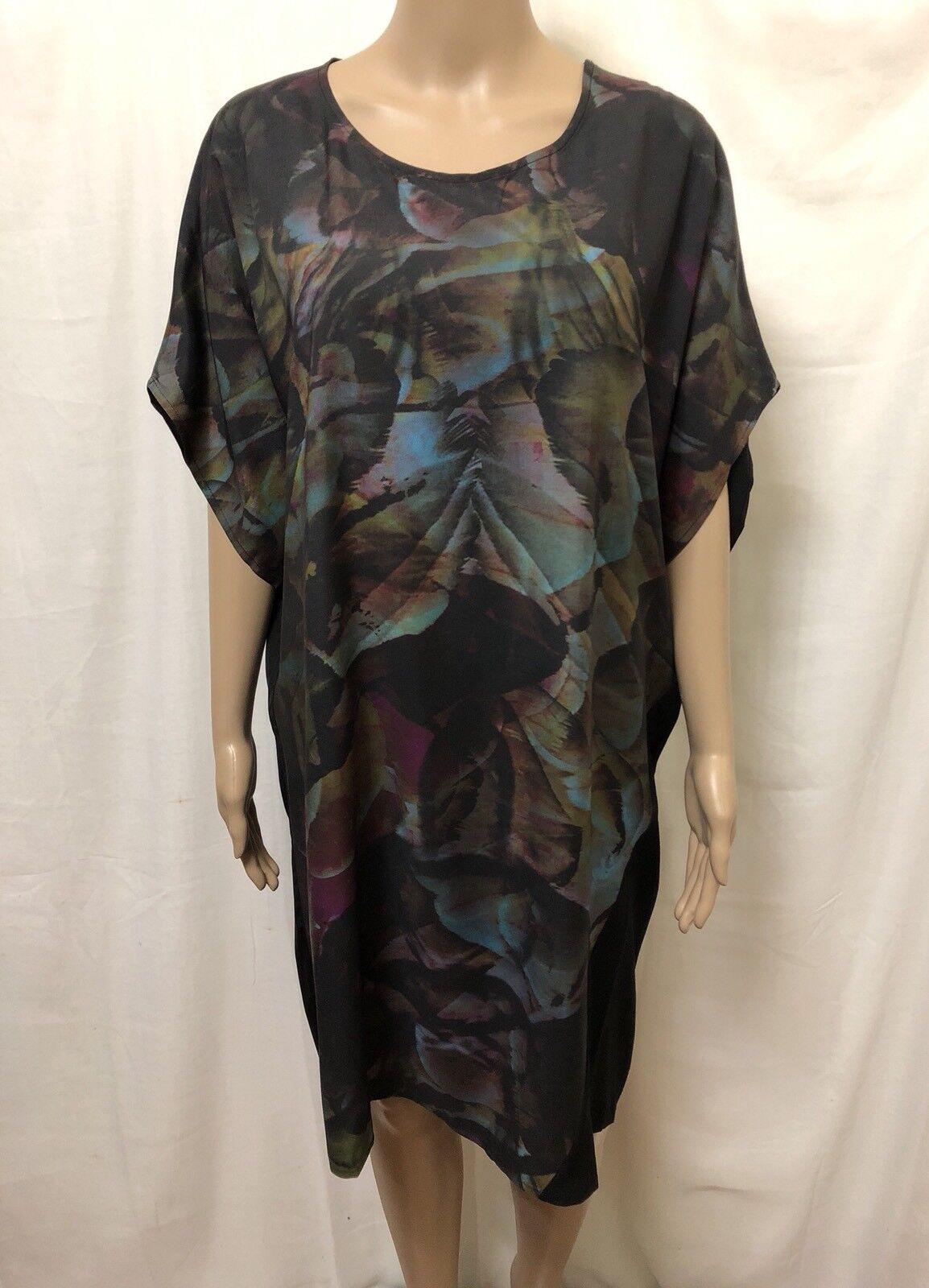 Elk Dress  Medium  New w  Tags   Twin Panel Wrap   Multi Colour Feather Print