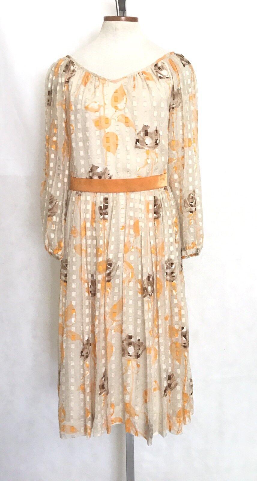 VIntage Silk Dress Beige Window Pane Poet Sleeves Ballerina Collar orange Brown