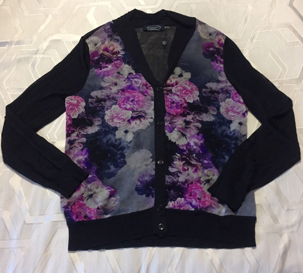 Magaschoni Floral Navy Silk Sweater Cardigan Size L NWD