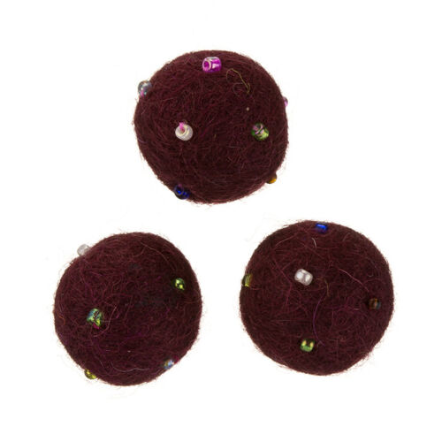 B55//11 Round Felt Wool Ball Beads Burgundy With Rocailles 14mm Pack of 3