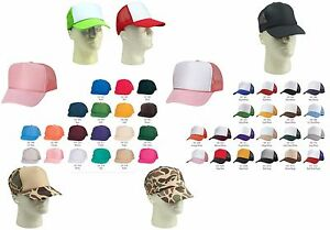 b372c6e36ab8a0 Trucker Hat Baseball Cap Mesh Retro Caps Blank Plain Hats OR Kid's ...