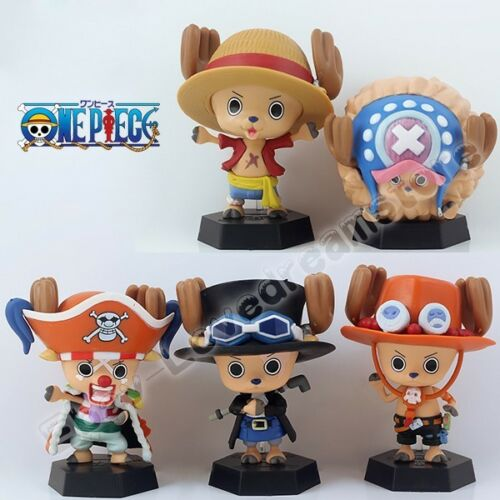 5pcs One Piece Chopper Cosplay Luffy Buggy Sabo Ace 8cm PVC Figure Set New Loose