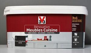 Détails Sur Peinture Rénovation Meubles De Cuisine V33 Fonte Métallisée Satin 2 L