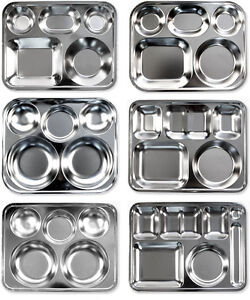 Stainless Steel Compartment Food Serving Tray Food Plate
