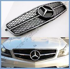 For 12-15 BENZ C204 Coupe C250 C300 C350 Mesh C63 Type Gloss Black Front Grille