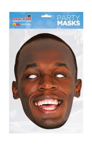 Usain Bolt Face Party Mask Card A4 Fancy Dress Runner Sport Jamaican Mens Kids