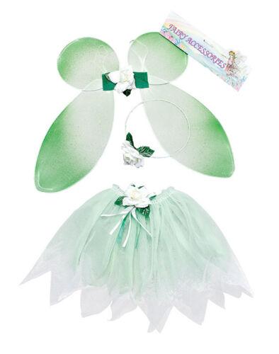 #Kids Ragazze Fatina Verde KIT Tinkerbell Fantasy Natale Child Costume Set