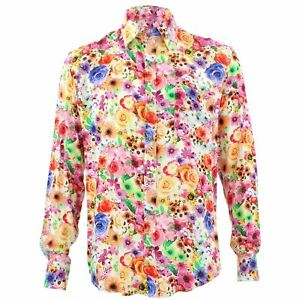 Men-039-s-Loud-Shirt-Retro-Psychedelic-Funky-Party-TAILORED-FIT-Floral-Yellow