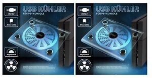 2x-Playstation-4-USB-Kuehler-Luefter-PS4-Staender-blaue-LED-Beleuchtung-fuer-PS4-Neu