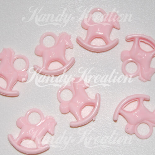 20 Light Pink Rocking Horse Charms for Baby Shower Favors Party Bubblegum Kandi