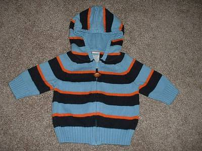 Gymboree Baby Boys All Star Football Striped Hooded Sweater Size 3-6 months