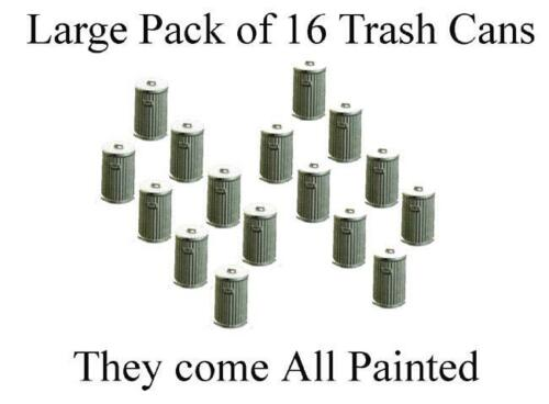 Large Pack of N Scale TRASH CANS includes 16 that come all painted 1//160 scale