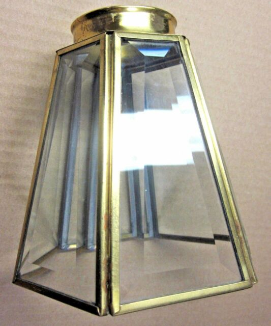1 Vintage Mid Century 6 Sided Hexagon Brass Framed Glass Lamp Shade Sconce Fan