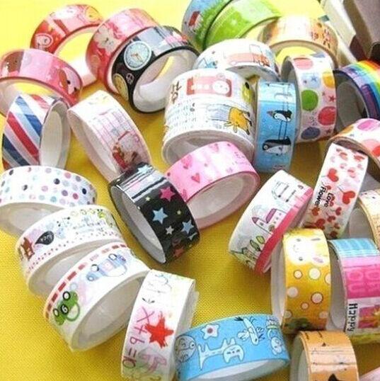 FD558 Rolls Mixed Cartoon Deco Washi Tape Adhesive Scrapbooking Sticker ~3PCs~