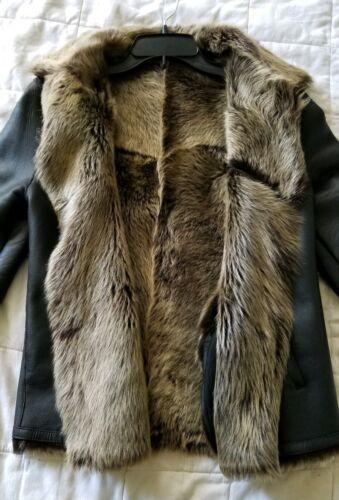 Italian shearling nappa leather jacket rancher cow