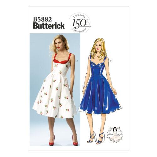 Butterick Sewing Pattern 5882 per fare in stile retrò MISSES Vestito Con Piega Reggiseno Top
