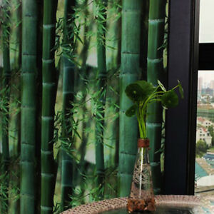 Bamboo Printed Glass Window Film Static Cling Film Privacy Green