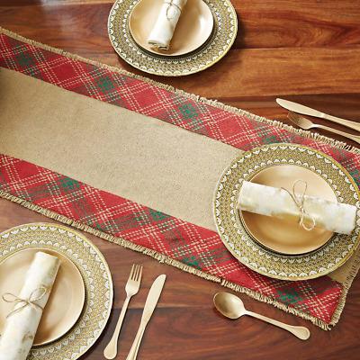 "New Rustic Farmhouse Lodge RED TARTAN PLAID Christmas Burlap Table Runner 48/"""