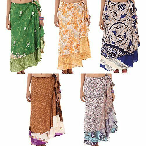 Indian Wrap Around Skirt Wholesale 5 Ps Printed Reversible Two Layer