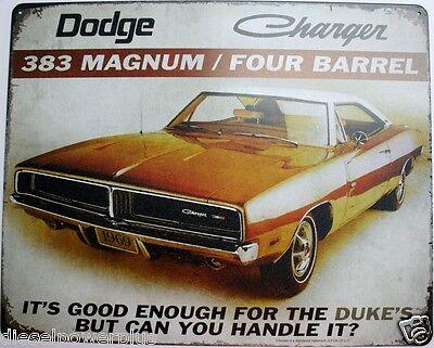Vintage Replica Tin Metal Sign 1969 Dodge Charger Mopar motor hemi 383 magnum rt