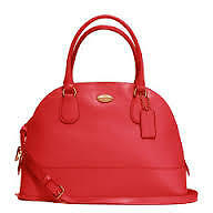 Coach Bag F33909 Cora Domed Crossgrain Satchel Red Agsbeagle