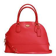 Coach Bag F33909 Cora Domed Crossgrain Satchel Red Agsbeagle LMY
