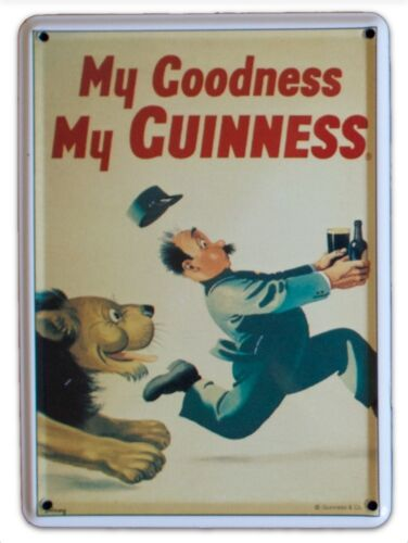 GUINNESS LION Small Vintage Metal Tin Pub Sign