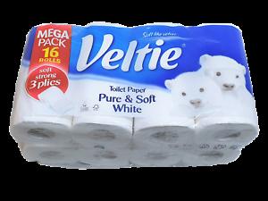 Toilettenpapier-Klopapier-WC-Papier-16-Rollen-3-lagig-Super-Soft-amp-Stark-weiss