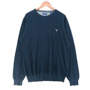 Gant Men/'s Pique Multistripe Crew Neck Jumper Evening Blue Gant Knitwear