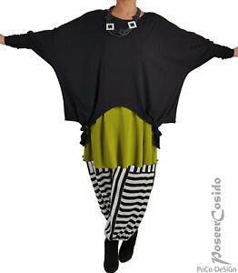 LAGENLOOK Oversize Jacke Shirt Überwurf XL-XXL-XXXL 46 48 50 52 54 56 58 schwarz