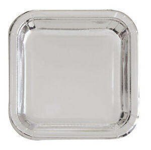 Image is loading SILVER-METALLIC-Shiny-SMALL-SQUARE-PAPER-PLATES-8-  sc 1 st  eBay & SILVER METALLIC Shiny SMALL SQUARE PAPER PLATES (8) ~ Birthday ...